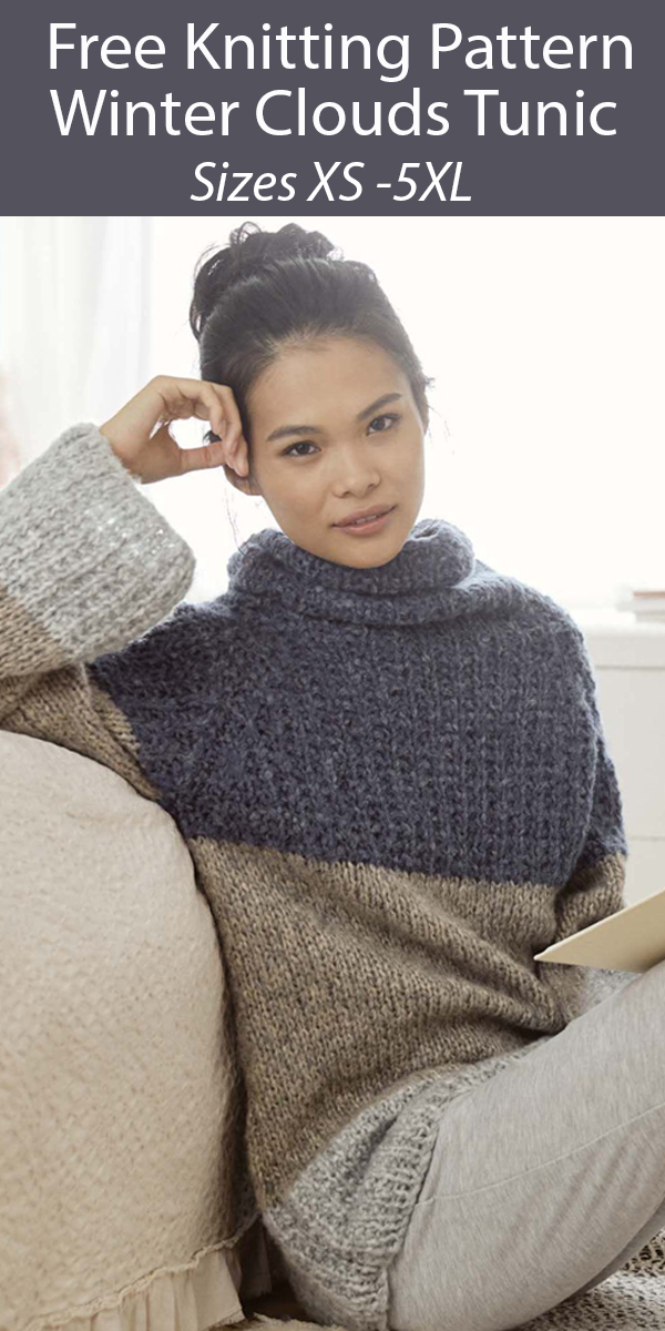 Free Sweater Knitting Pattern Winter Clouds Tunic