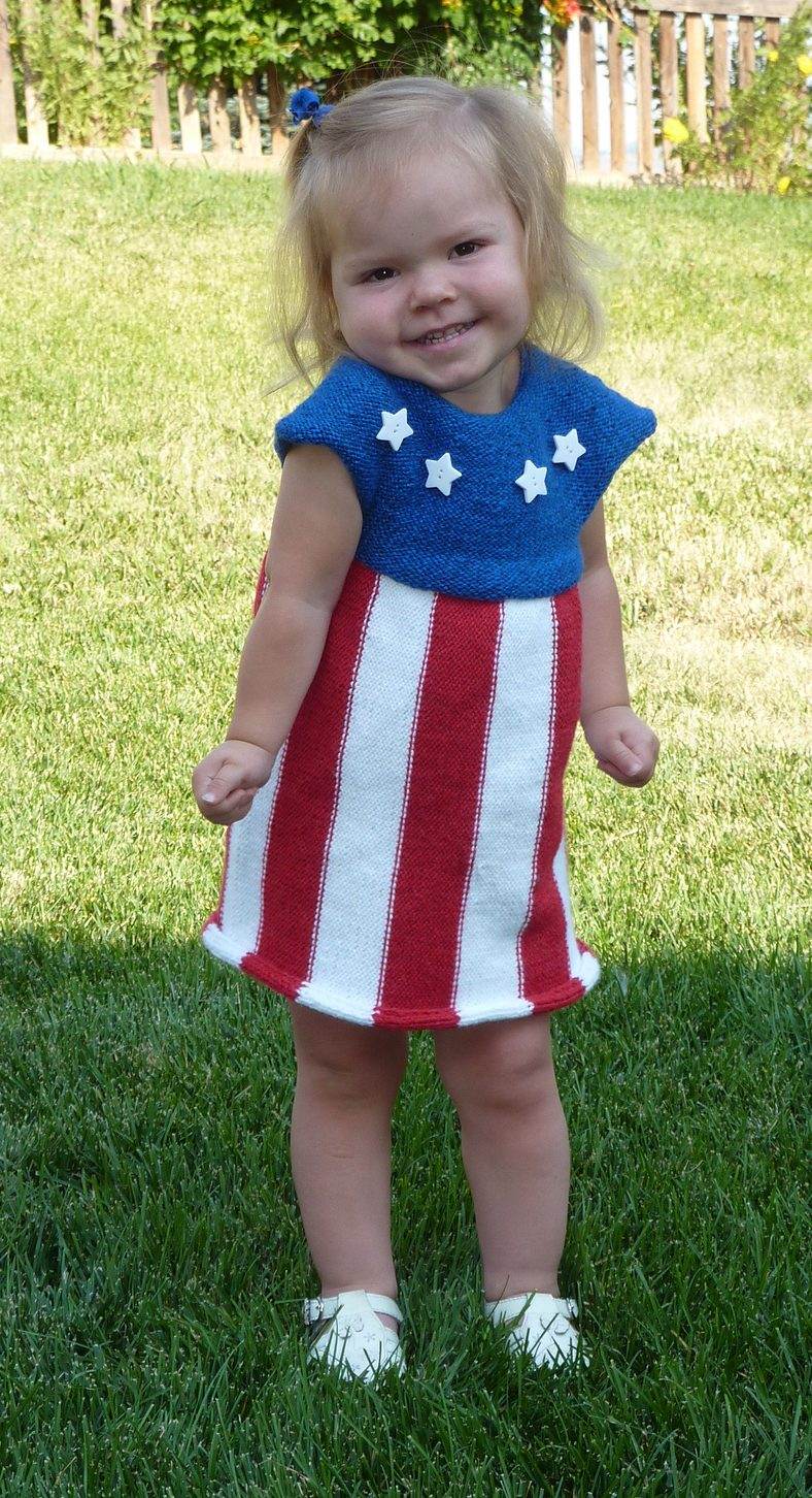 Free knitting pattern for Patriotic Celebration Dress