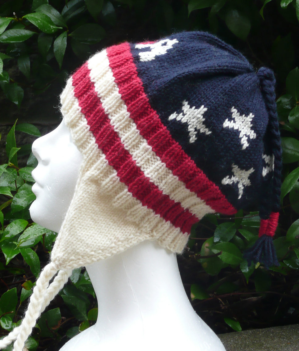 Free Knitting Pattern for Patriotic Earflap Hat
