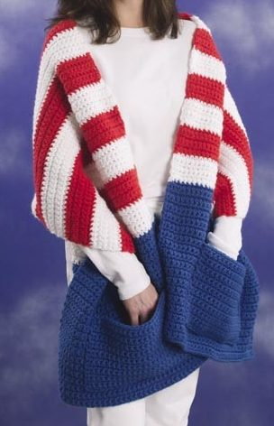 Free Knitting or Crochet Pattern for Patriotic Pocket Wrap