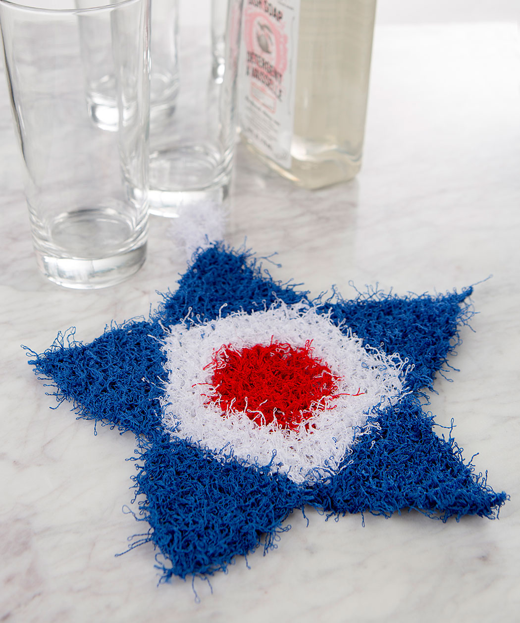 Free Knitting Pattern for Patriotic Star Scrubby