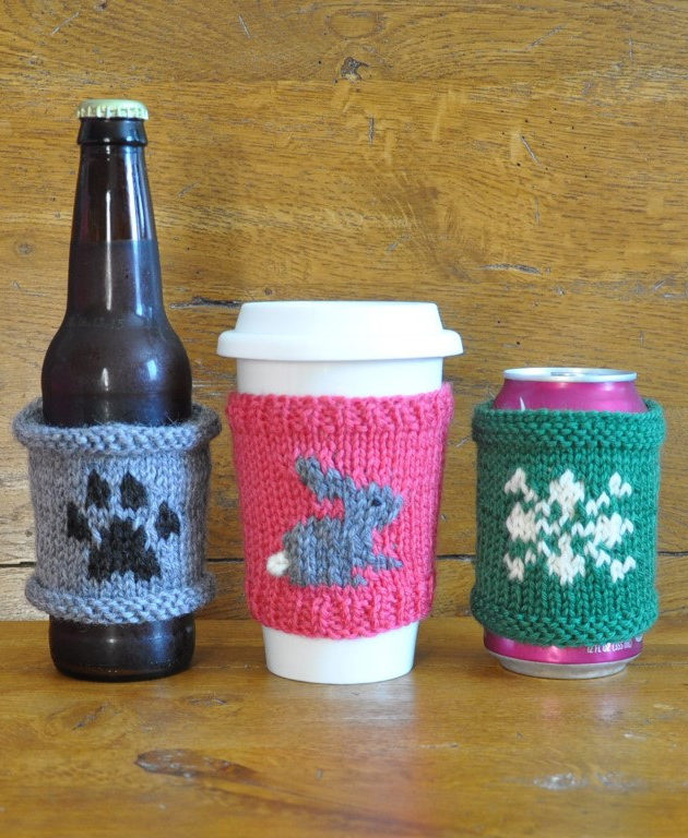 Knitting Pattern Set for Pawprint, Bunny, and Snowflake Cup Cozies