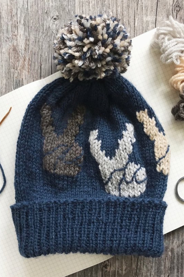 Free Knitting Pattern for Peace Sign Hands Hat