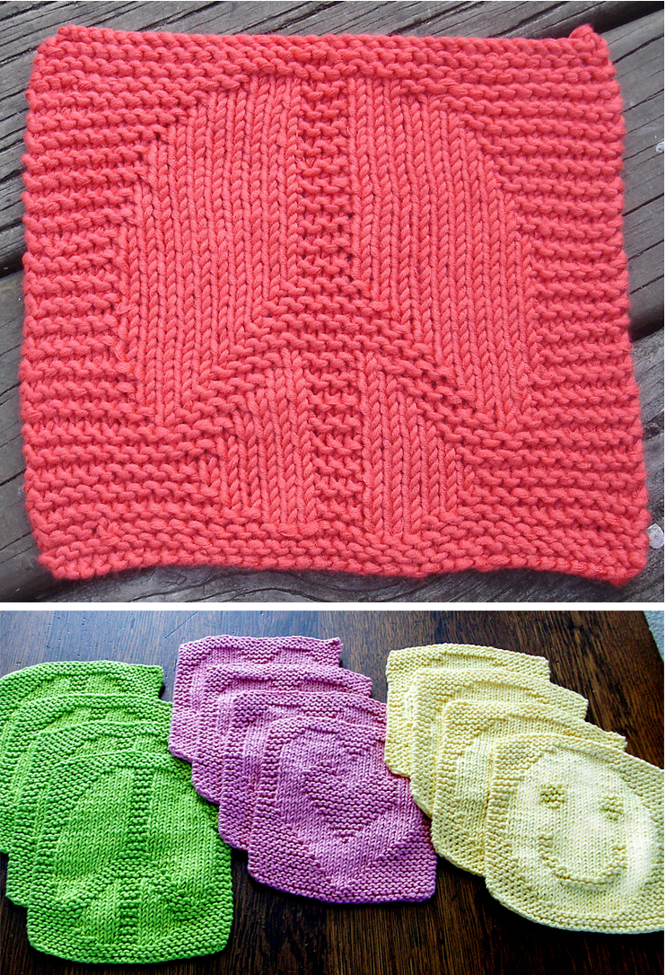 Free Knitting Pattern for Peace, Love, and Happiness Wash Cloths