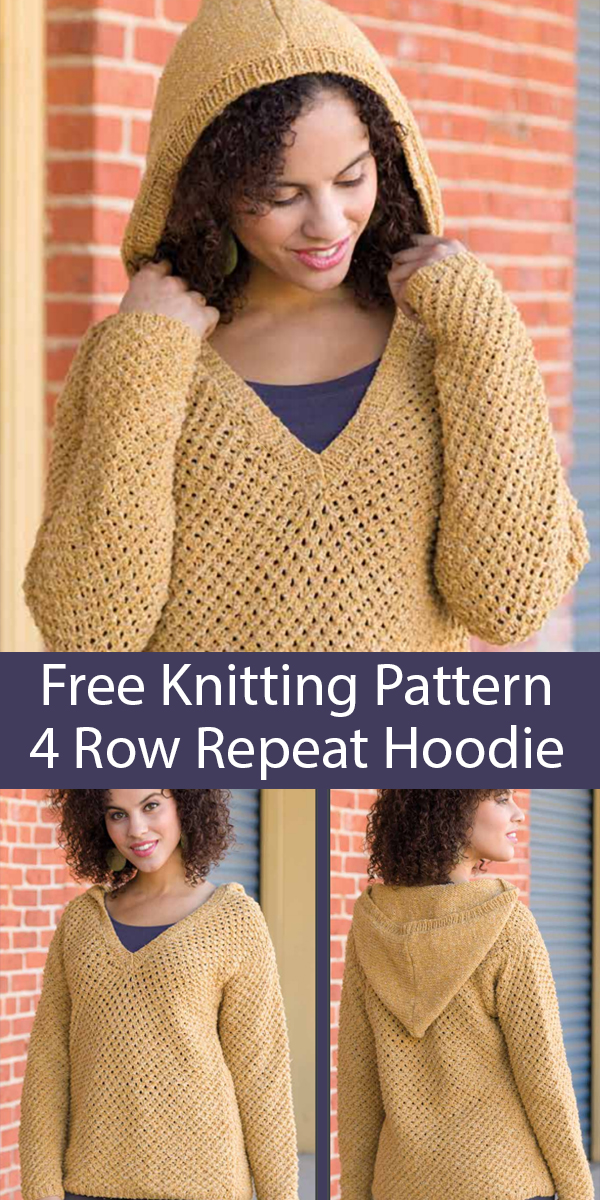 Free Knitting Pattern for 4 Row Repeat Peace of Mind Hoodie