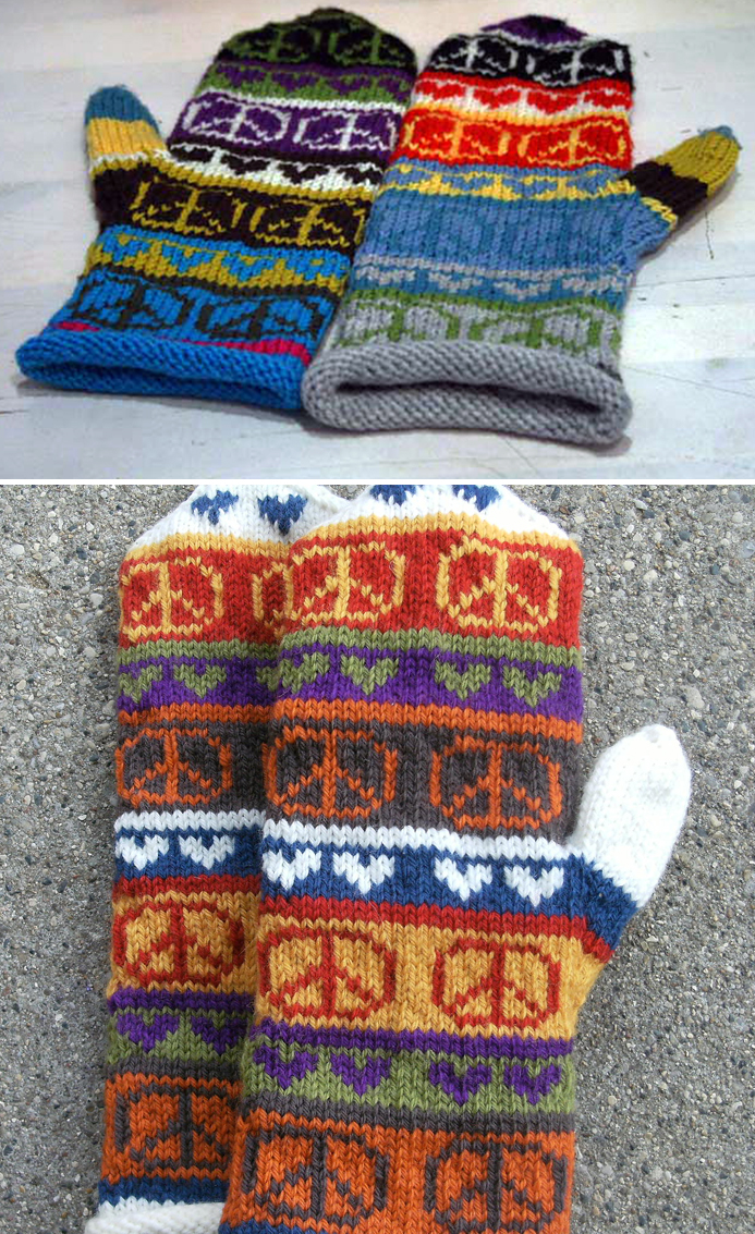 Free Knitting Pattern for Peace Sign Mittens
