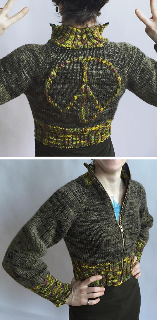 Free Knitting Pattern for Peace Jacket
