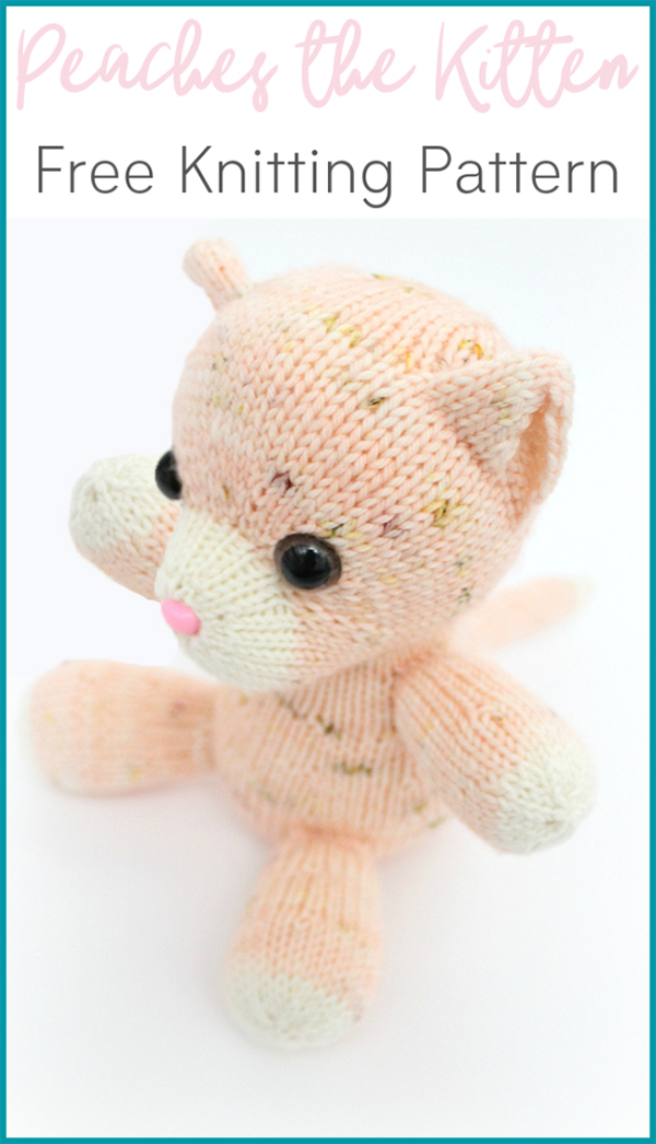 Free Knitting Pattern for Peaches the Kitten