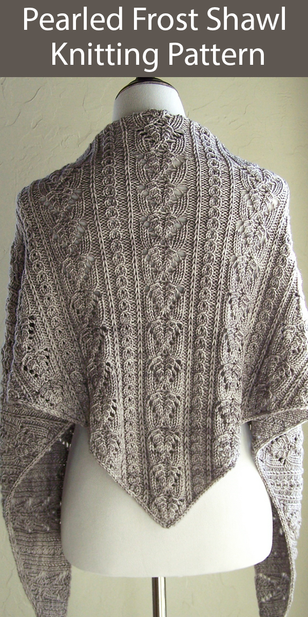 Knitting Pattern for Pearled Frost Lace Shawl