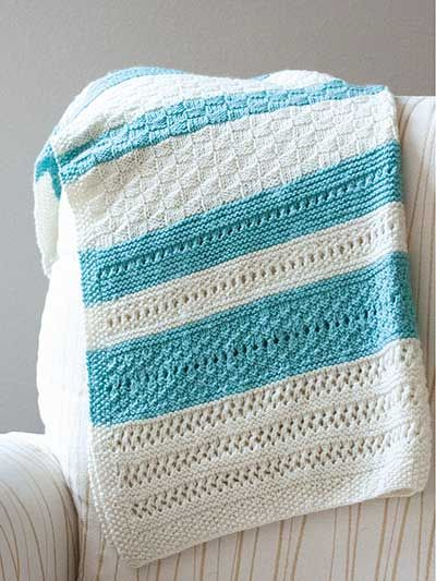 Knitting pattern for Peek a Blue Baby Blanket and more baby blanket knitting patterns