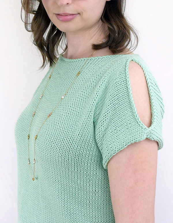 Free Knitting Pattern for Easy Peek-A-Boo Tee