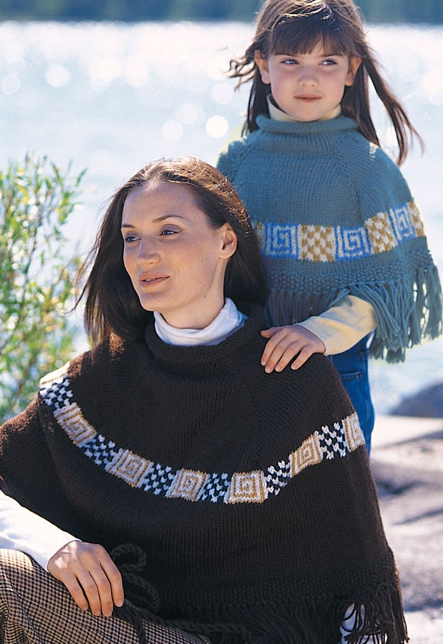 Free knitting pattern for Mother and Daughter Peruvian Spirit Ponchos