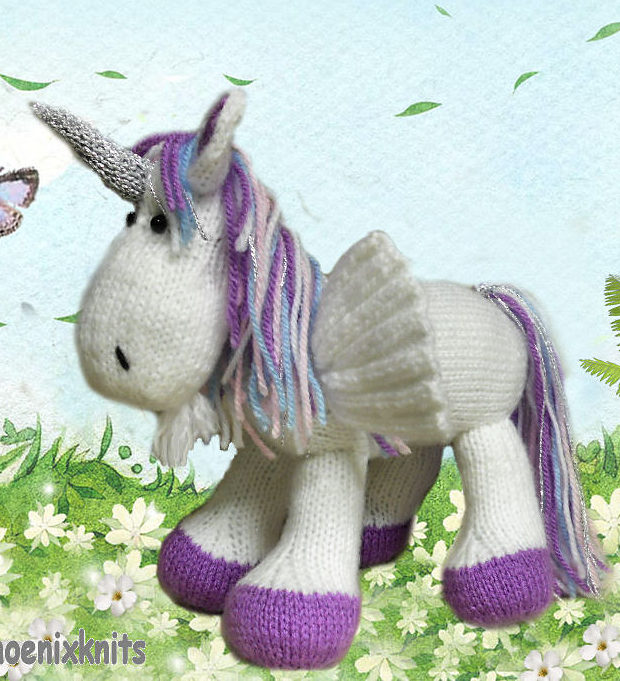 Knitting Pattern for Winged Unicorn Toy