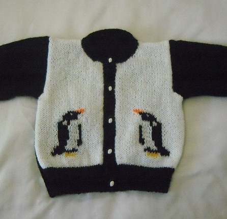 Free knitting pattern for Penguin Cardigan sweater for babies and children