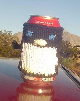 Free knitting pattern for Penguin Can Cozy
