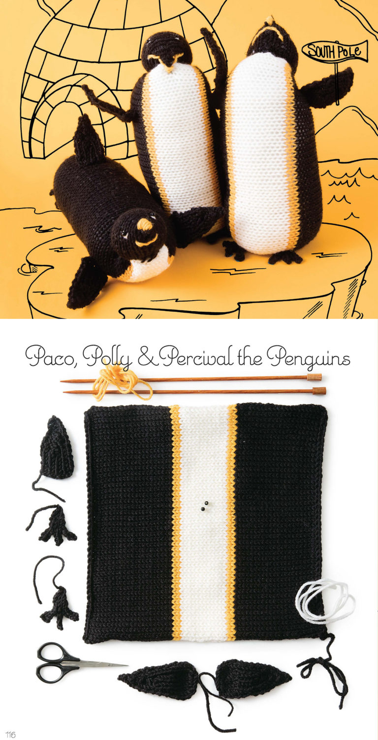 Knitting Pattern for Penguin Toy Knit From a Square