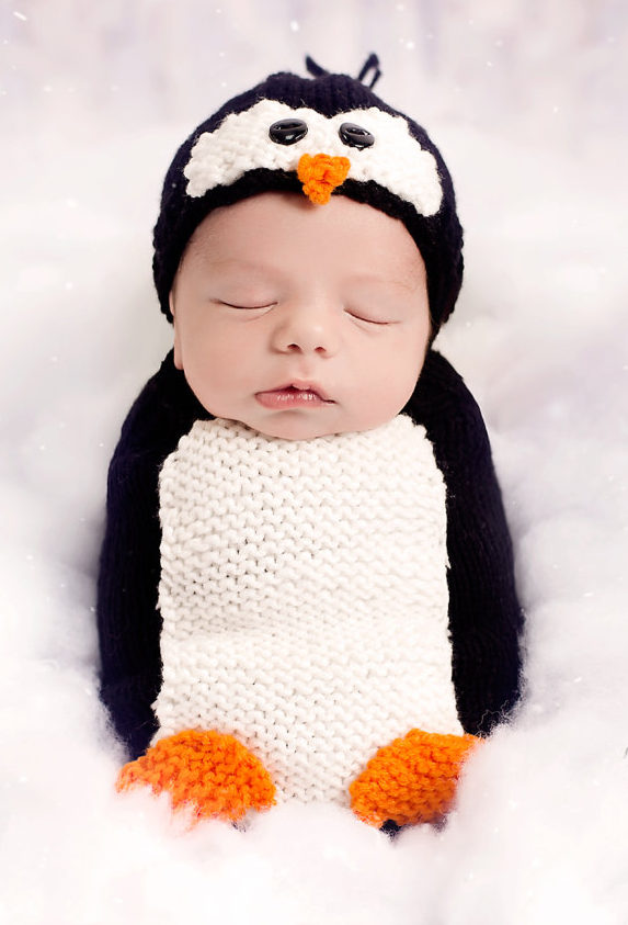 Free Knitting Pattern for Penguin Cocoon and Hat Baby Newborn Photo Prop