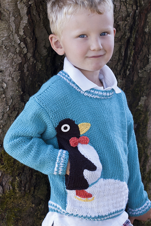 Free Knitting Pattern for Penguin Pullover
