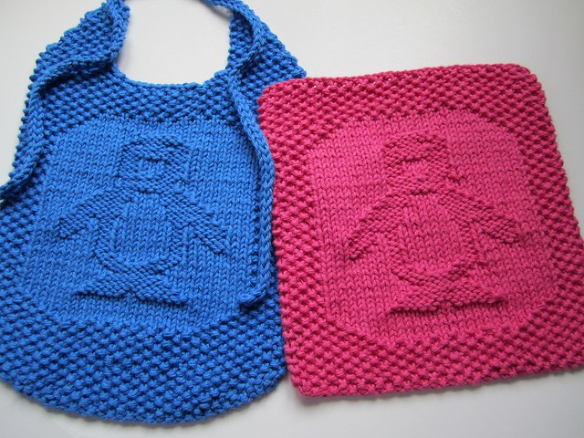 Free knitting pattern for Penguin Washcloth and Bib