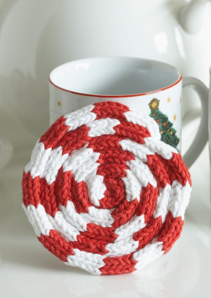 Free Knitting Pattern Peppermint I-Cord Coaster