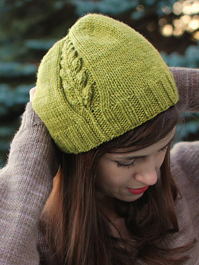 Knitting pattern for Perennial Hat beanie with leaf motif