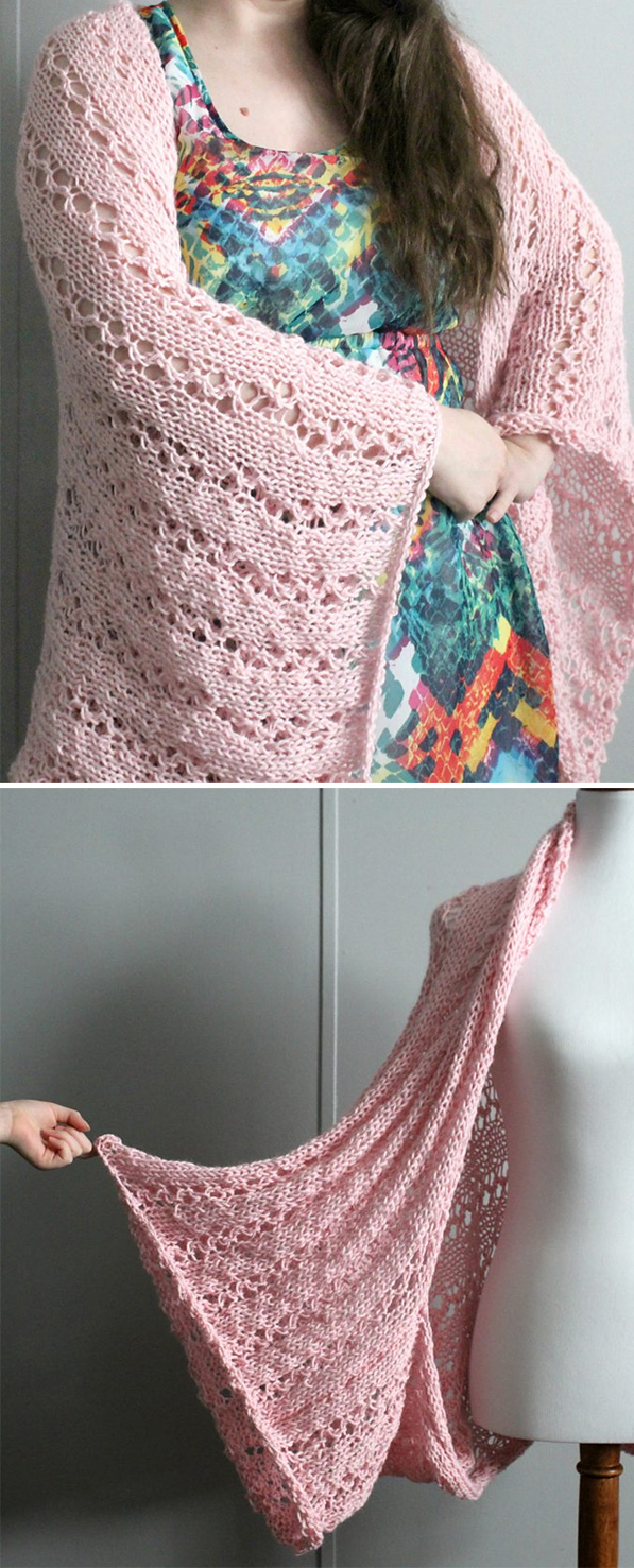 Free Knitting Pattern for Easy 4 Row Repeat Perfect Blanket Shrug