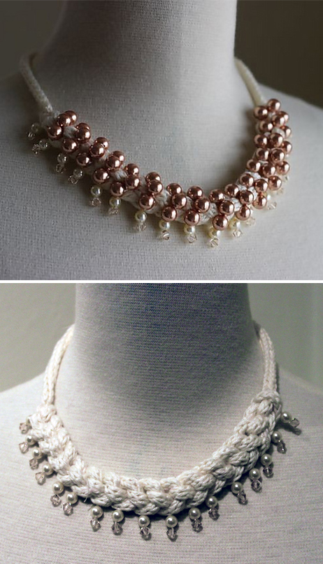 Free Knitting Pattern for Perla Necklace
