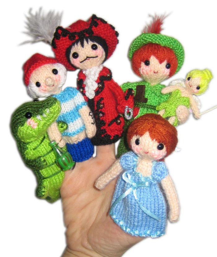 Knitting Pattern for Peter Pan Finger Puppets