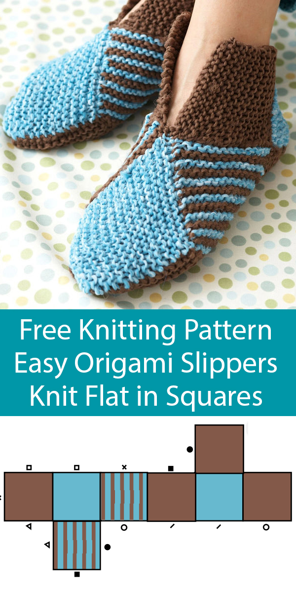 Free Knitting Pattern for Easy Origami Slippers Knit Flat
