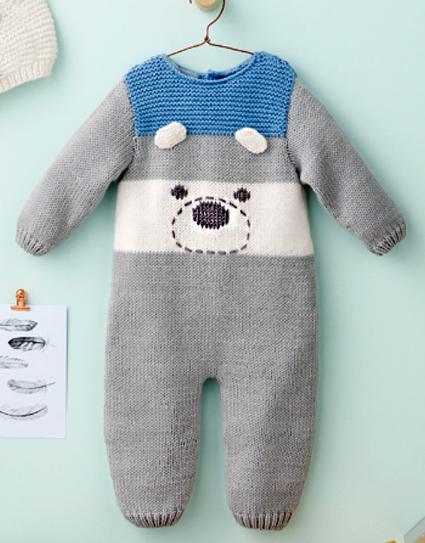 Free Knitting Pattern for Teddy Bear Romper