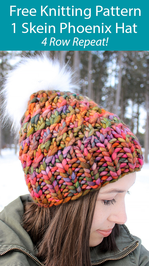 Free Knitting Pattern for 1 Skein Phoenix Hat 4 Row Repeat Beanie in Super Bulky Yarn