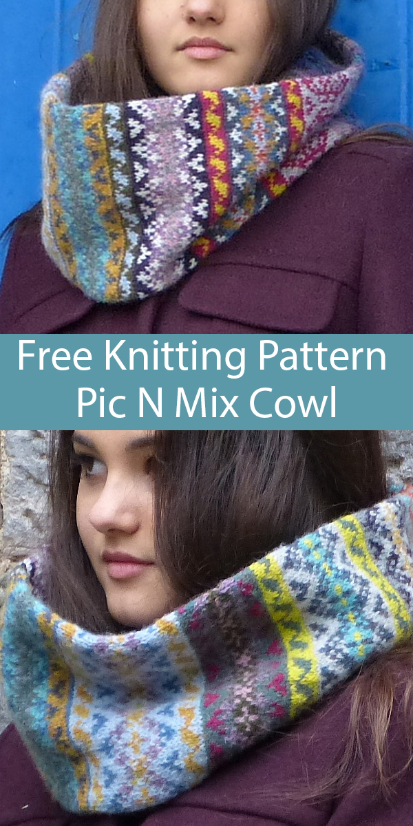 Free Knitting Pattern for Pic N Mix Cowl for Stashbusting or Mini Skeins