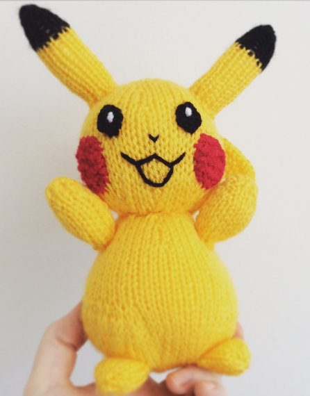 Knitting pattern for Pikachu toy doll
