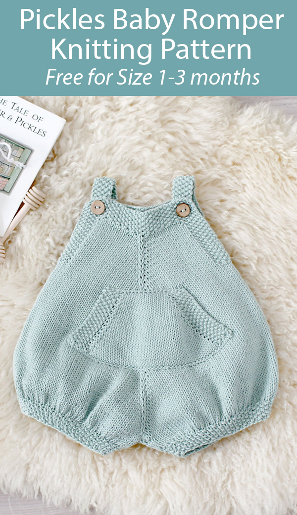 Knitting Pattern for Pickles Baby Romper. Free for Size 1-3 Months