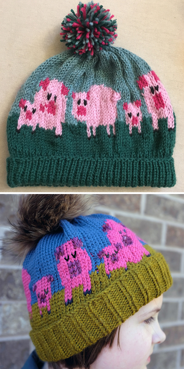 Free Knitting Pattern for Pig Lover's Beanie