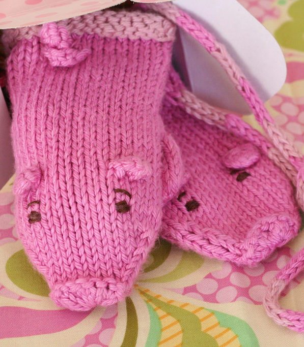 Free Knitting Pattern for Piglet Mittens