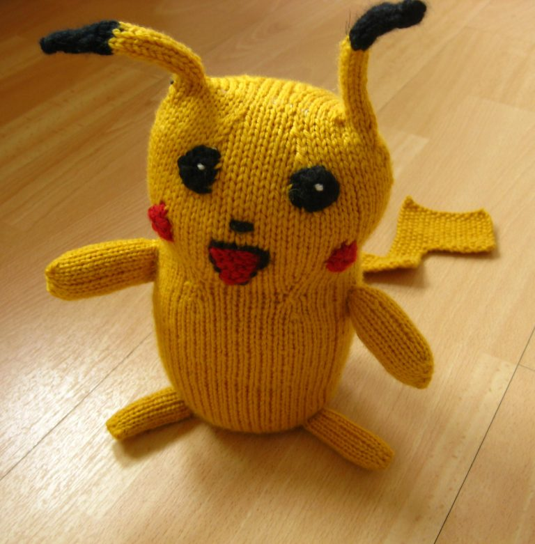 Free knitting pattern for Pikachu softie toy