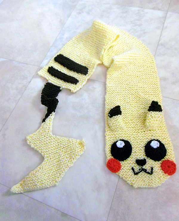 Free Knitting Pattern for Pikachu Scarf