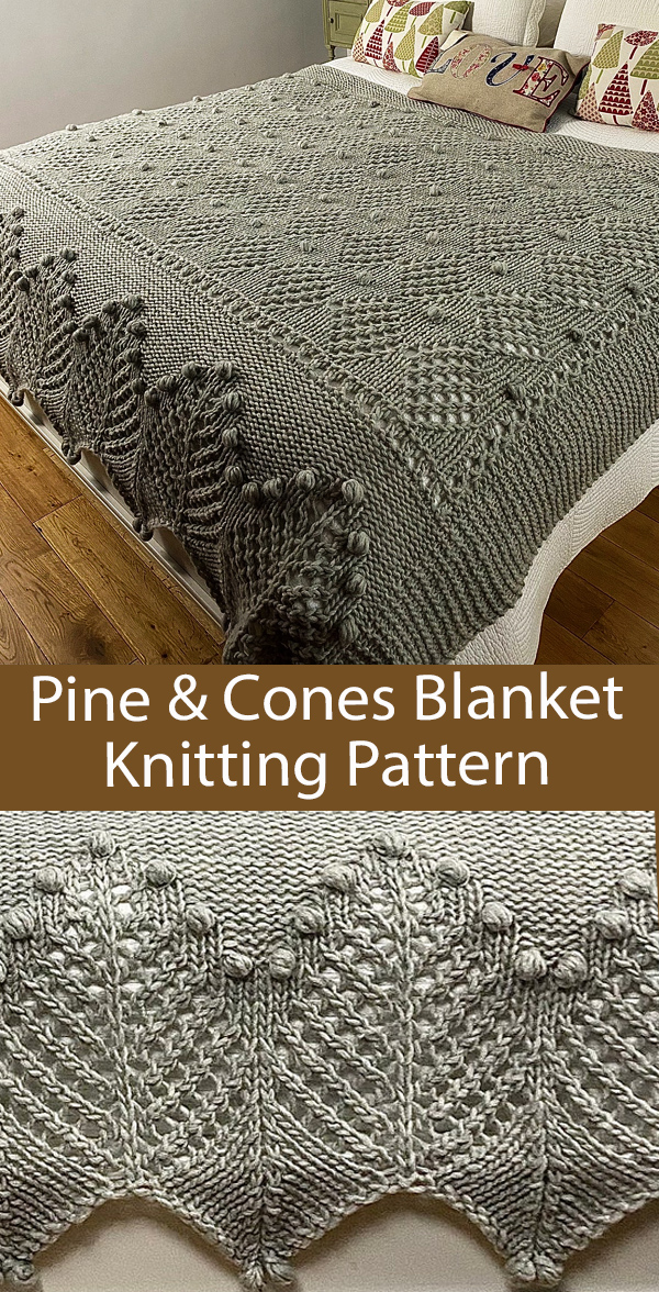 Blanket Knitting Pattern Pine And Cones Blanket
