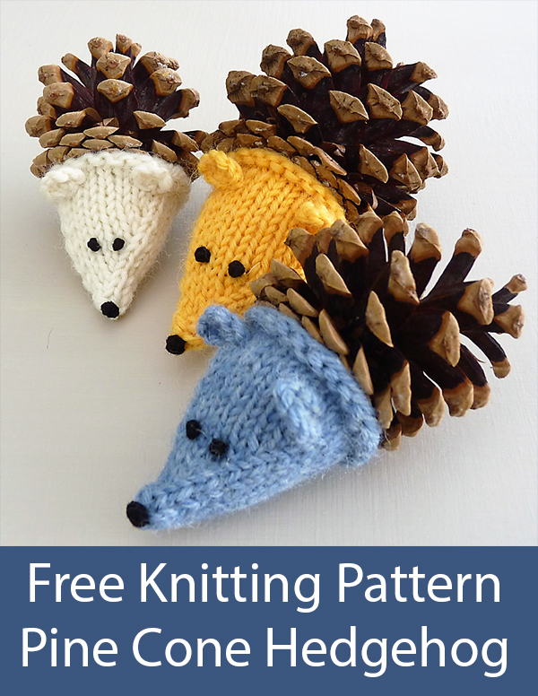 Free Knitting Pattern for Pine Cone Hedgehog