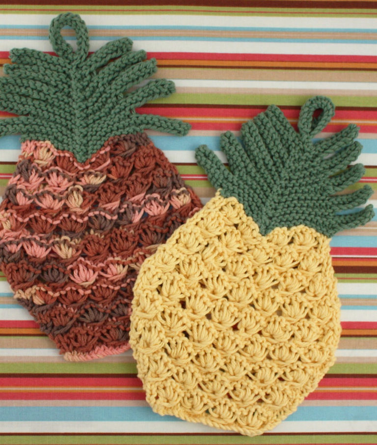 Free Knitting Pattern for Pineapple Dish Cloth