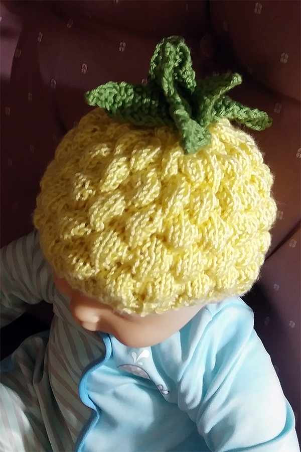 Free Knitting Pattern for Pineapple Baby Hat