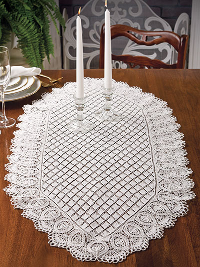 Knitting Pattern for Pineapple and Diamonds Table Runner
