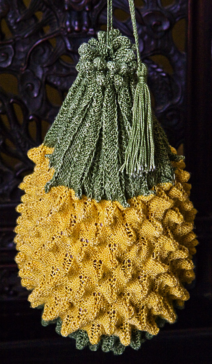 Free Knitting Pattern for Pineapple Reticule Bag