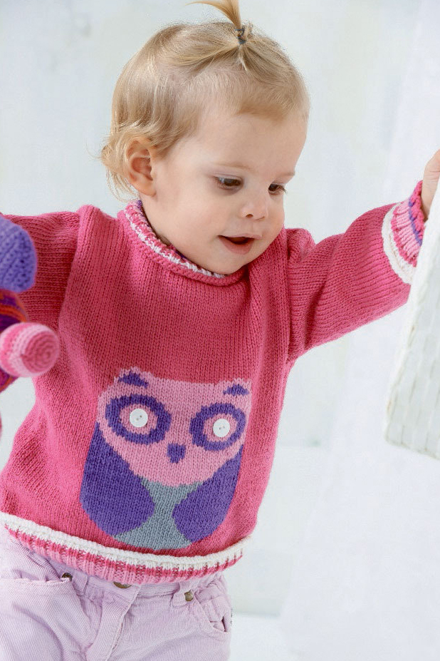 Free Knitting Pattern for Baby Sweater with Owl