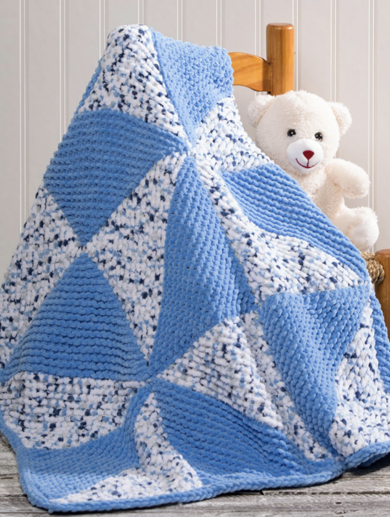 Free Knitting Pattern for Easy Pinwheel Baby Blanket