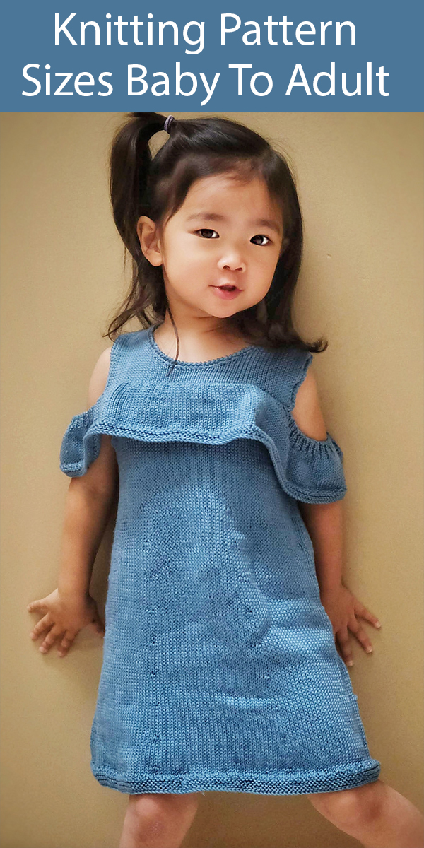 Knitting Pattern for Piper Dress Sizes Baby through Adult (12/18m to XL)