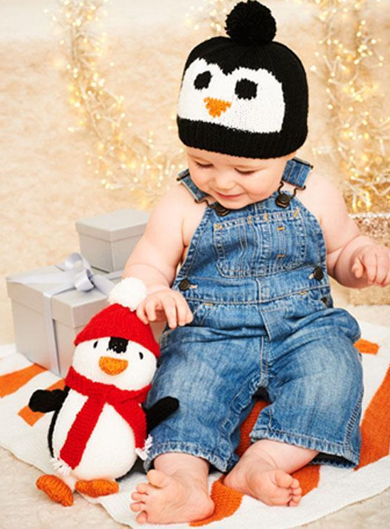 Piper the Penguin, Hat and Blanket Knitting Patterns or Kit