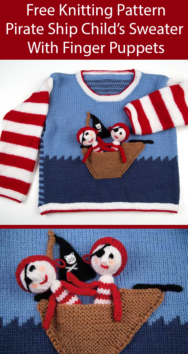 Free Knitting Pattern for Easy TPirate Boat Sweater and Finger Puppets by Jane Burns for Ages 2-11