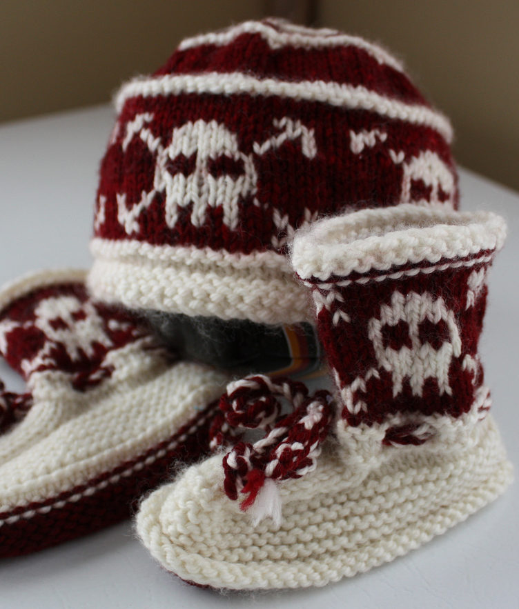 Free Knitting Pattern for Pirate Baby Hat and Booties